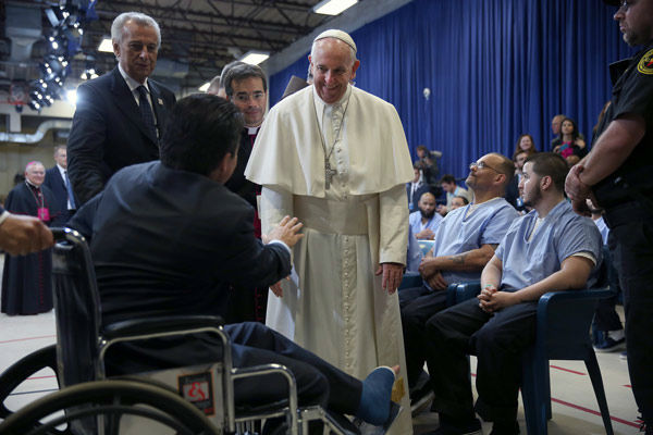 <div class='meta'><div class='origin-logo' data-origin='none'></div><span class='caption-text' data-credit='Photo/David Maialetti'>Pope Francis during his visit to the Curran Fromhold Correctional Facility in Philadelphia, Sunday, Sept. 27, 2015.</span></div>
