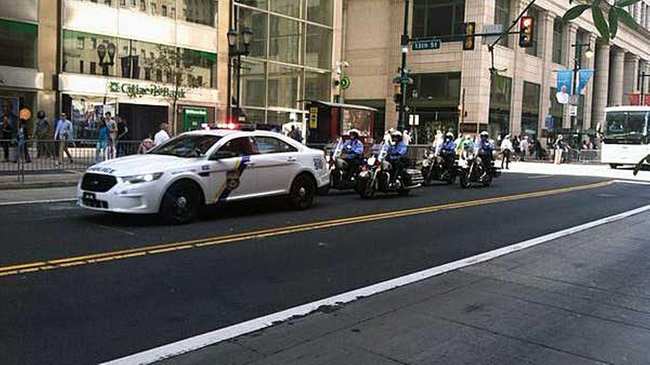 Police escort down Market Street.@PhotogDan6abc