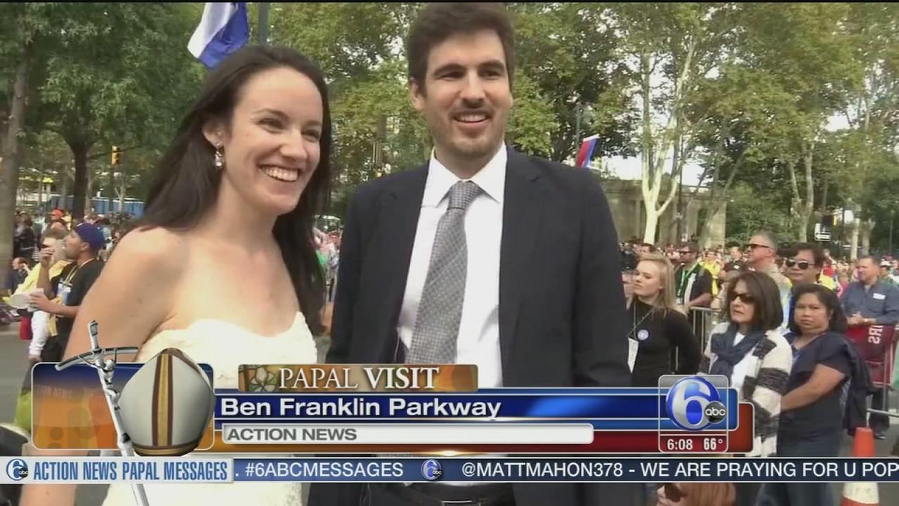VIDEOS: Newlyweds seek popes blessing