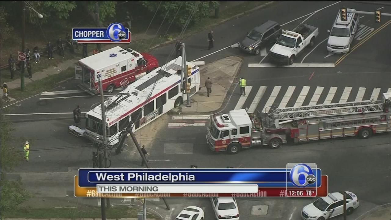 VIDEO: SEPTA bus crashes in West Phila.