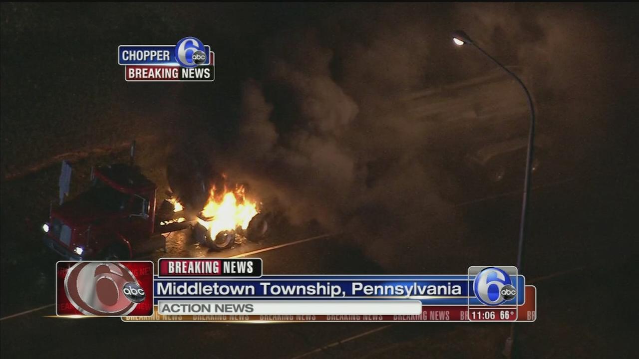 VIDEO: Truck on fire in Bucks County