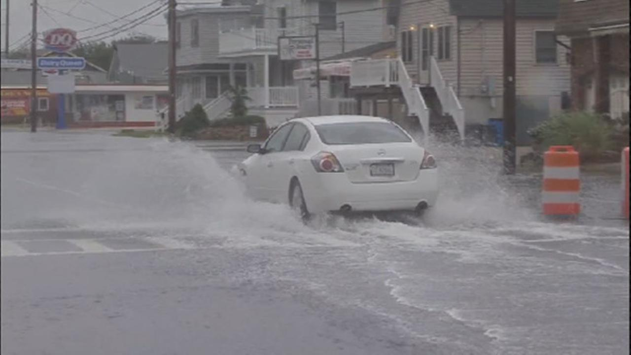 Streets were flooded in Wildwood, New Jersey, on Friday, Oct. 2, 2015.