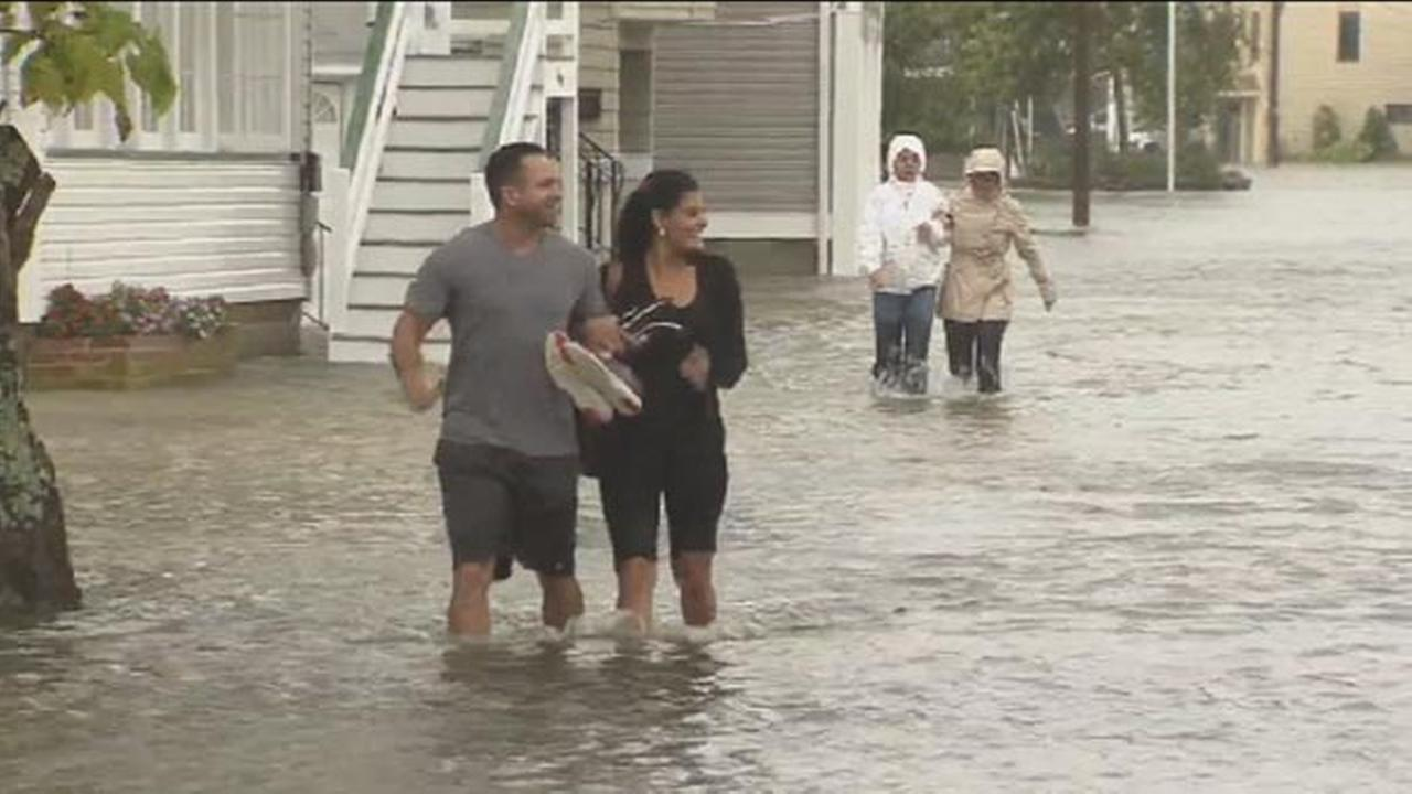 Streets were flooded in Ocean City, New Jersey, on Friday, Oct. 2, 2015.
