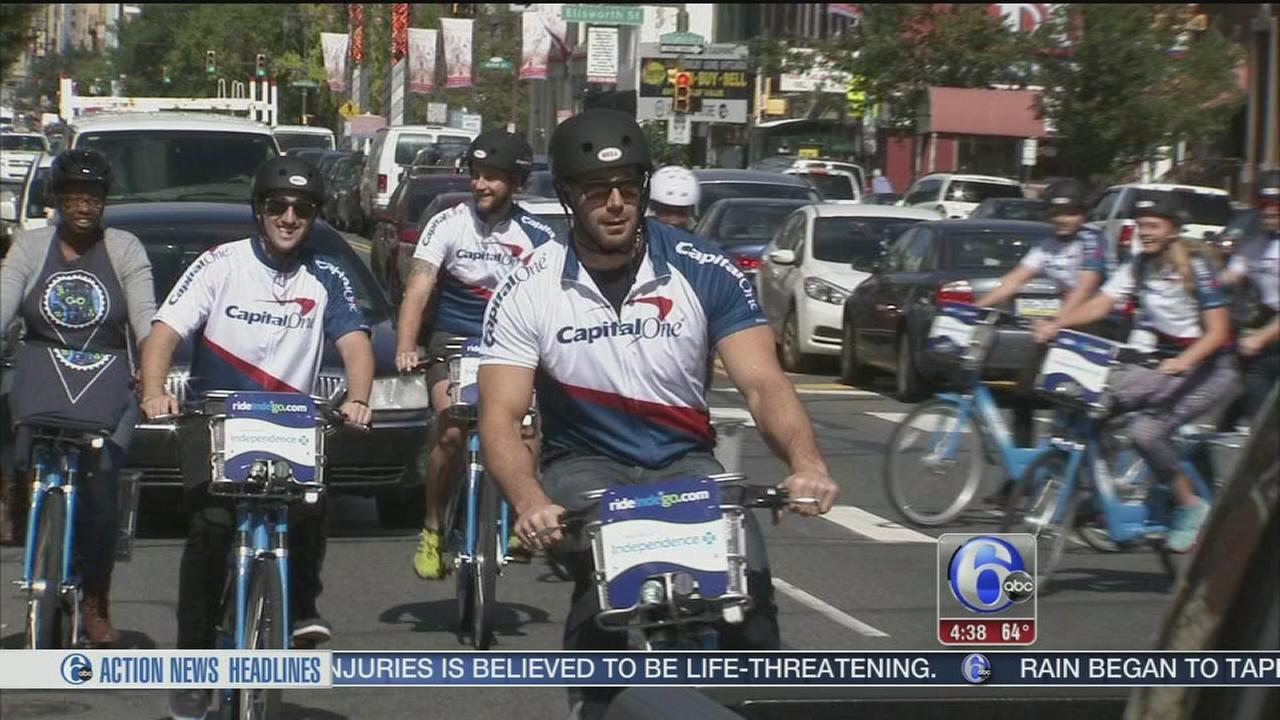 VIDEO: Connor Barwin bikes through South Philly to celebrate new partnership