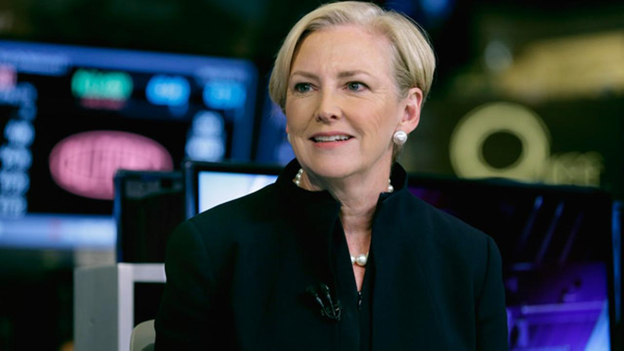 Chair and CEO of DuPont Ellen Kullman, is interviewed after ringing the closing bell at the New York Stock Exchange, Monday, June 29, 2015.