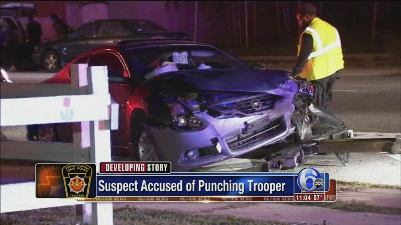 VIDEO: Suspect accused of punching Trooper