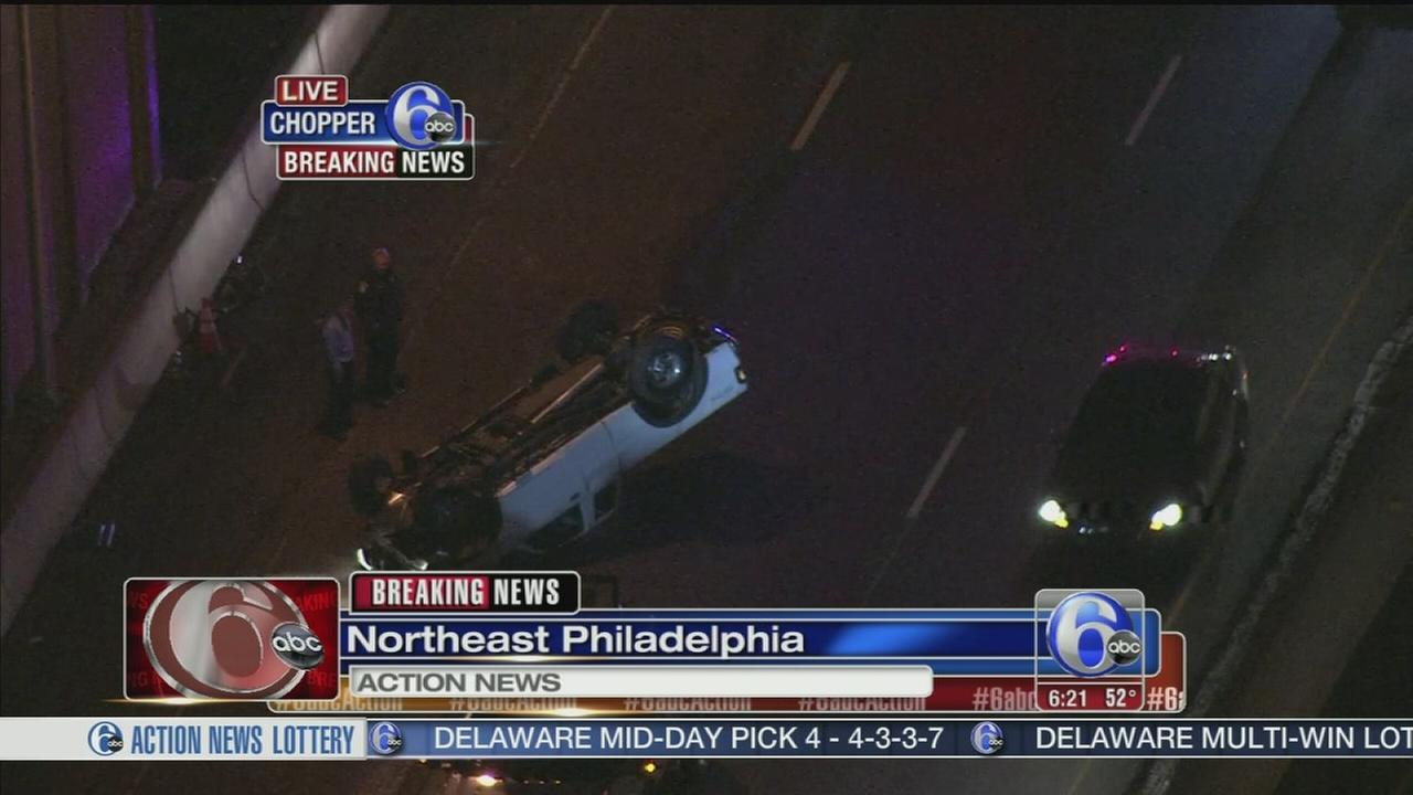 VIDEO: Pickup truck overturns in NE Phila.