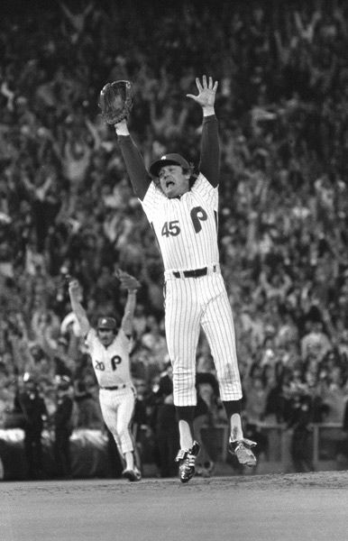 <div class='meta'><div class='origin-logo' data-origin='none'></div><span class='caption-text' data-credit='Photo/STAFF'>Philadelphia Phillies relief pitcher Tug McGraw leaps as Kansas City Royals batter Willie Wilson strikes out to end the game and give the Phillies the World Series.</span></div>