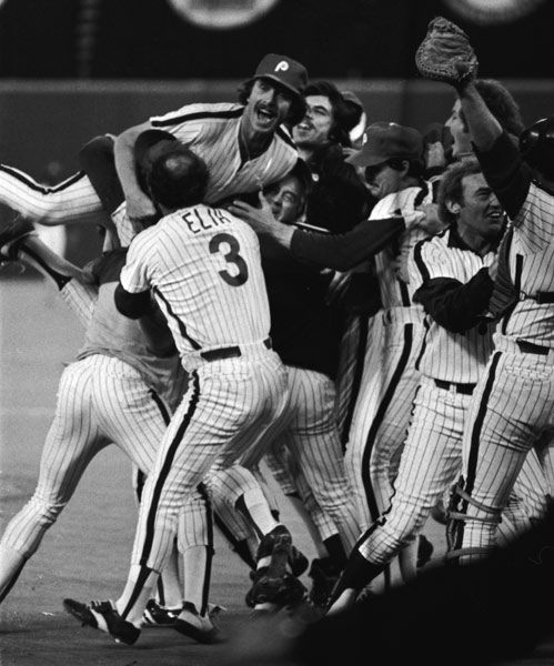 <div class='meta'><div class='origin-logo' data-origin='none'></div><span class='caption-text' data-credit='Photo/Anonymous'>Philadelphia Phillies third baseman Mike Schmidt leaps onto teammates' shoulders after the Phillies defeated the Kansas City Royals.</span></div>