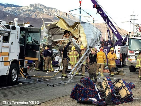 "<div class=""meta image-caption""><div class=""origin-logo origin-image none""><span>none</span></div><span class=""caption-text"">The California Highway Patrol says passengers were killed when a tour bus and a semi-truck crashed on a highway in Southern California. (Chris Tarpening /KESQ)</span></div>"