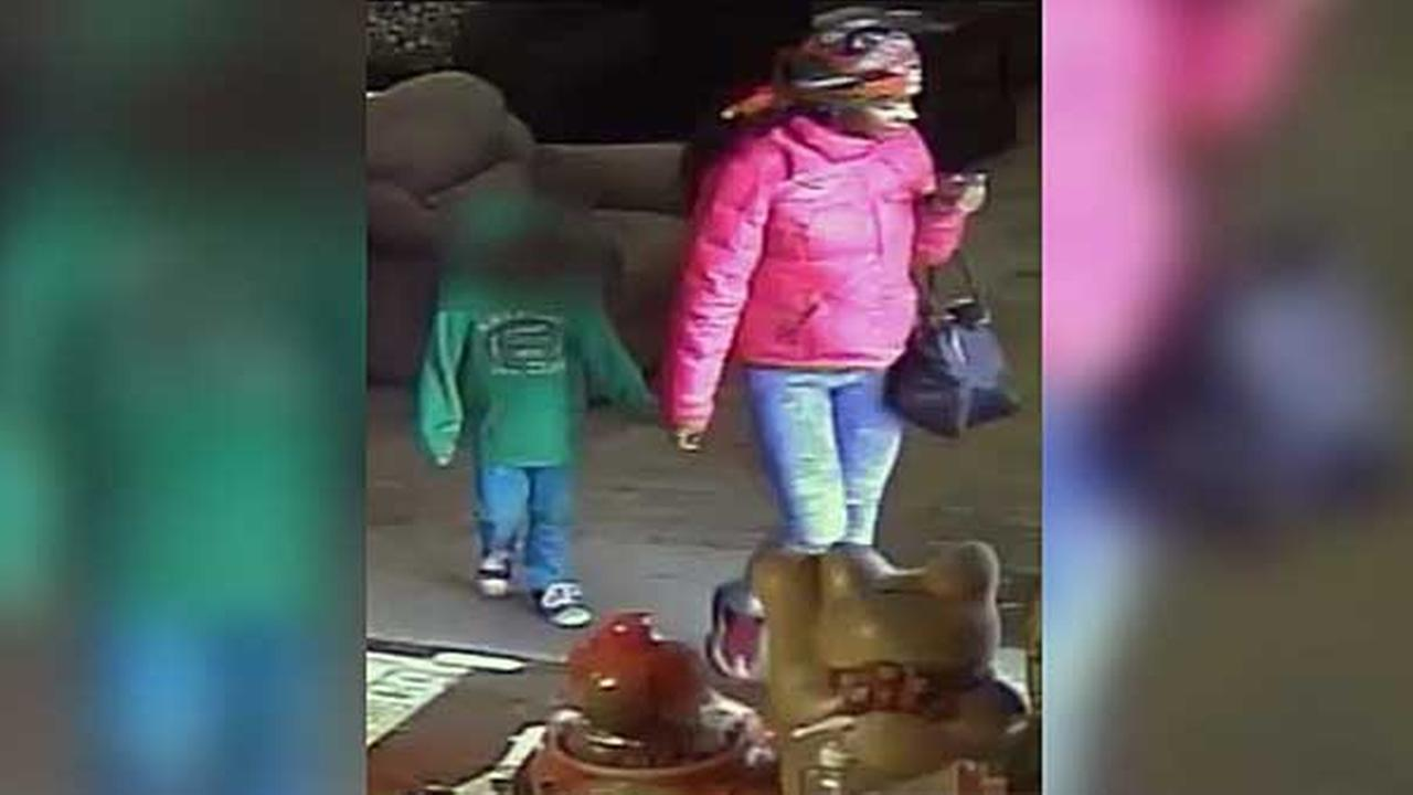 Philadelphia police are searching for a woman who stole a purse from inside a store while walking with a small child in the citys Juniata Park section.