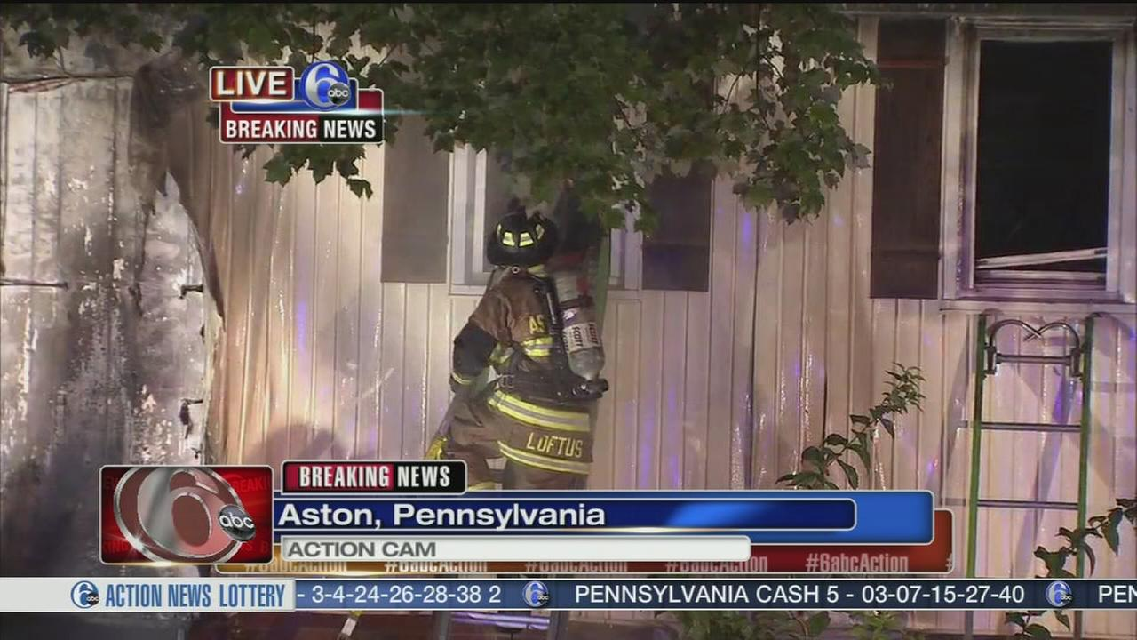 VIDEO: Fire damages home in Aston, Pa.