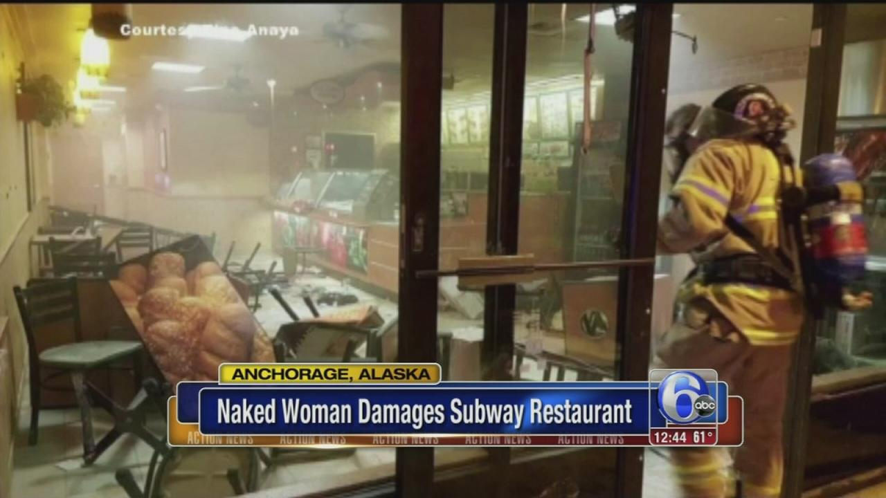 VIDEO: Naked woman damaged Subway restaurant in Alaska