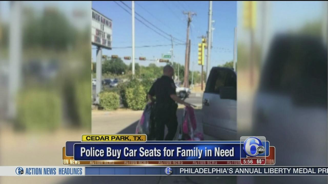 VIDEO: Police buy car seats for family
