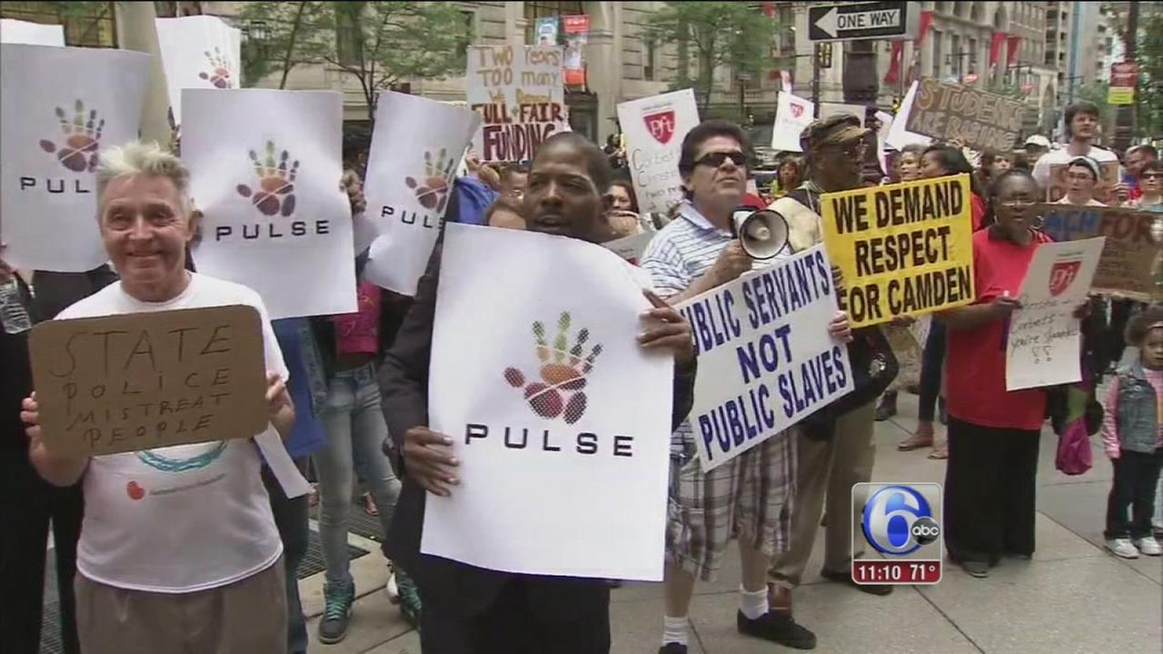 VIDEO: Group protests Corbett, Christie