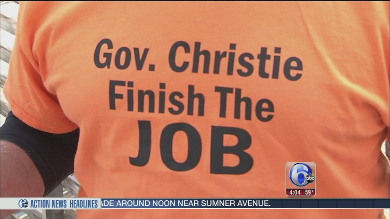 VIDEO: Sandy victims protest outside Christie offices