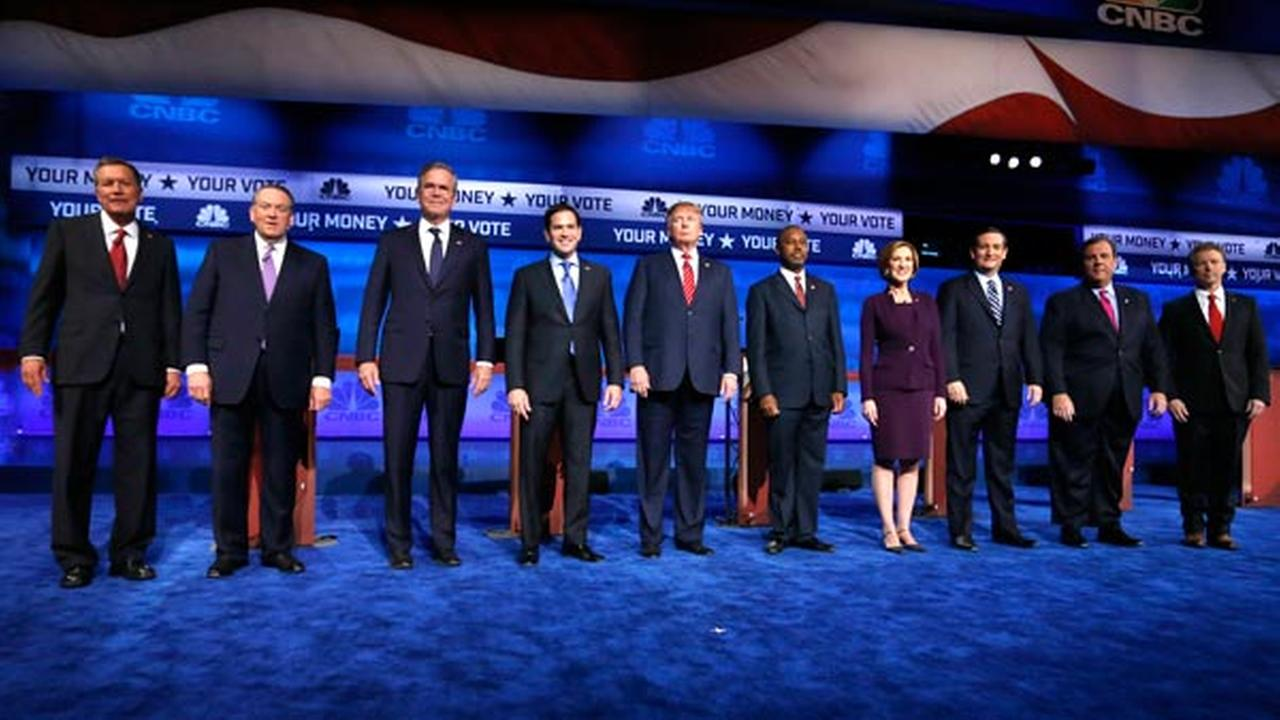 Republican presidential candidates, from left, John Kasich, Mike Huckabee, Jeb Bush, Marco Rubio, Donald Trump, Ben Carson, Carly Fiorina, Ted Cruz, Chris Christie, and Rand Paul