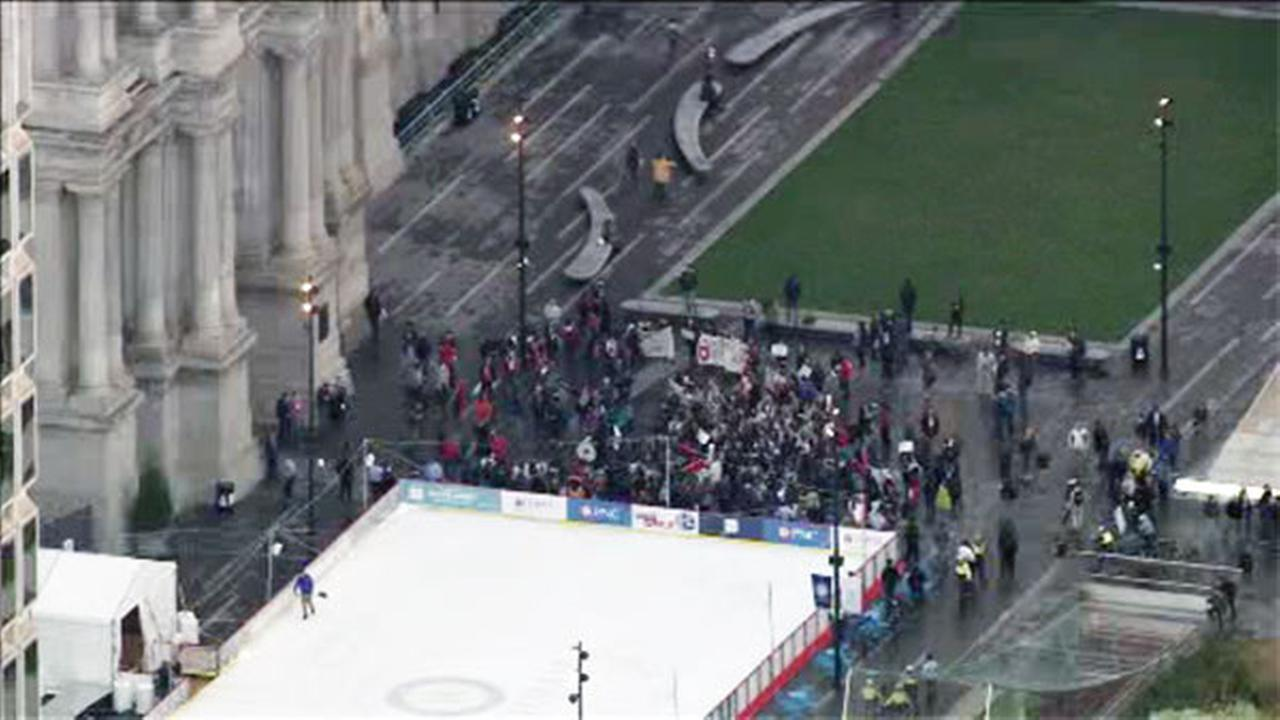Pictured: The Million Student March reaches Philadelphia City Hall.