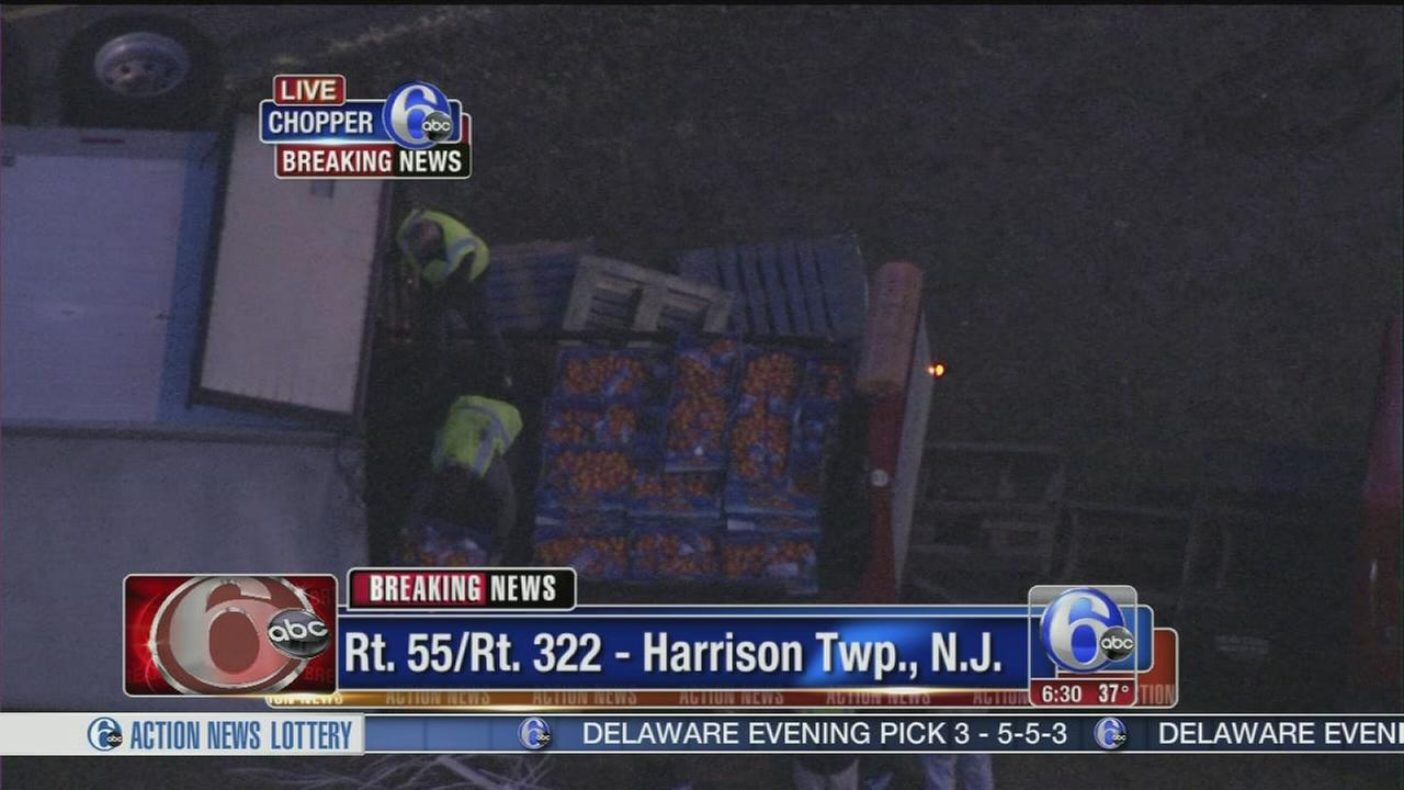 VIDEO: Tangerine truck crashes in NJ