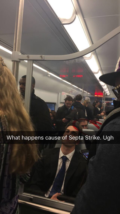 <div class='meta'><div class='origin-logo' data-origin='none'></div><span class='caption-text' data-credit='Twitter / Vita Colangelo'>Action News viewer Vita Colangelo says the SEPTA strike was even affecting her ride on a crowded PATCO train.</span></div>