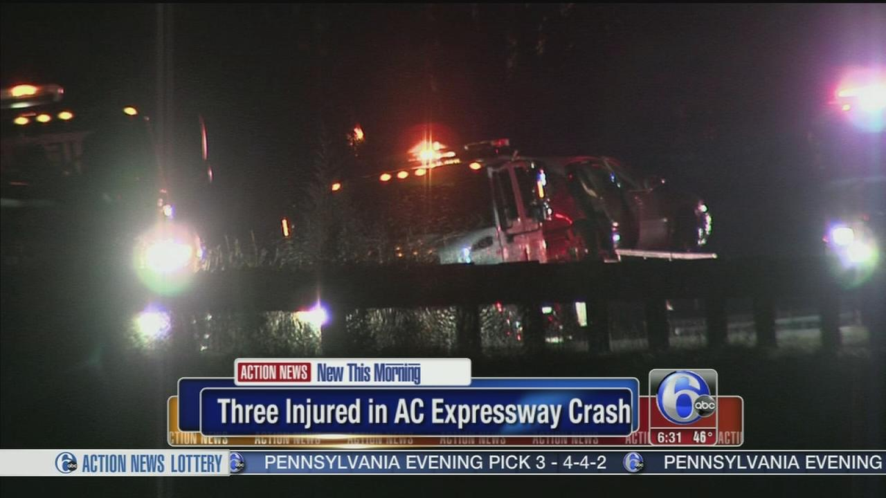 VIDEO: 3 injured in Atlantic City Expressway crash