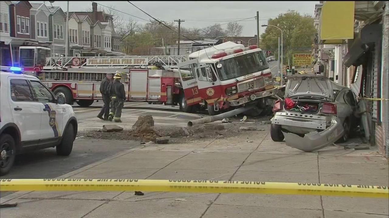 VIDEO: 5 firefighters injured in West Philadelphia