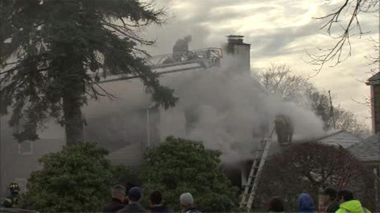 Fire crews battled a house fire Sunday afternoon in Marple Township, Delaware County.