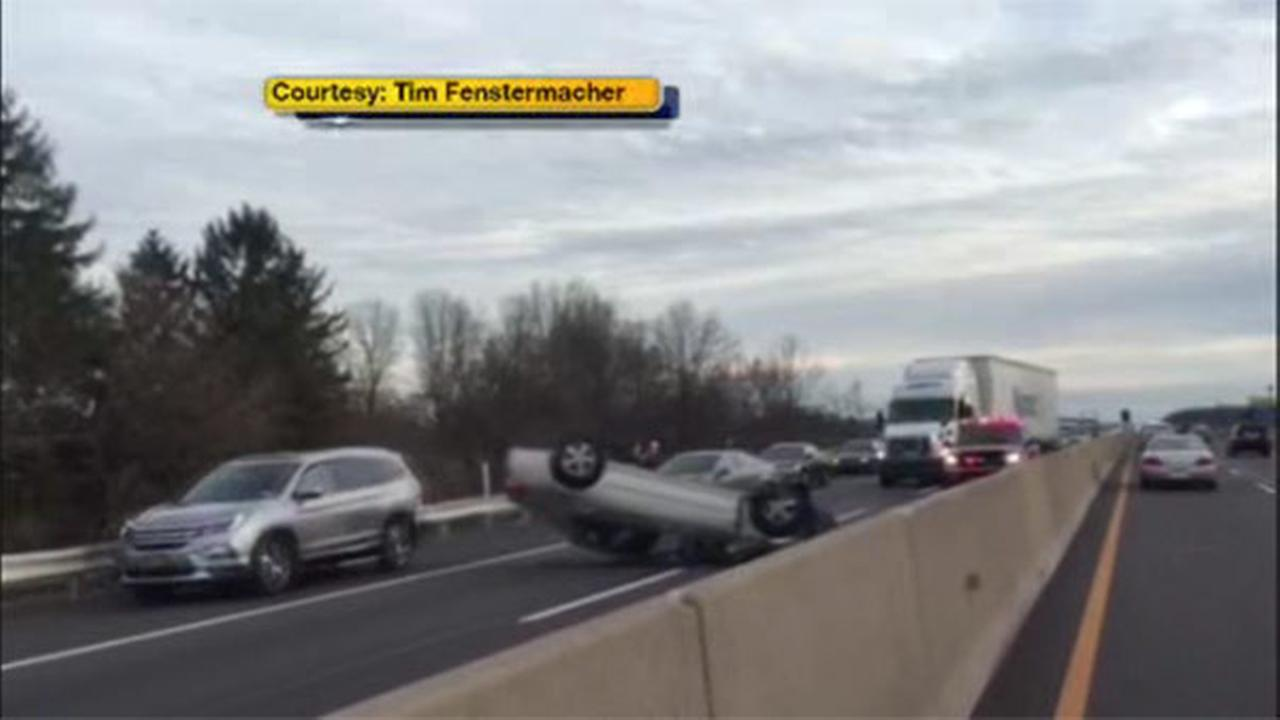 An overturned vehicle on the Northeast Extension of the Pennsylvania Turnpike slowed traffic in Montgomery County.