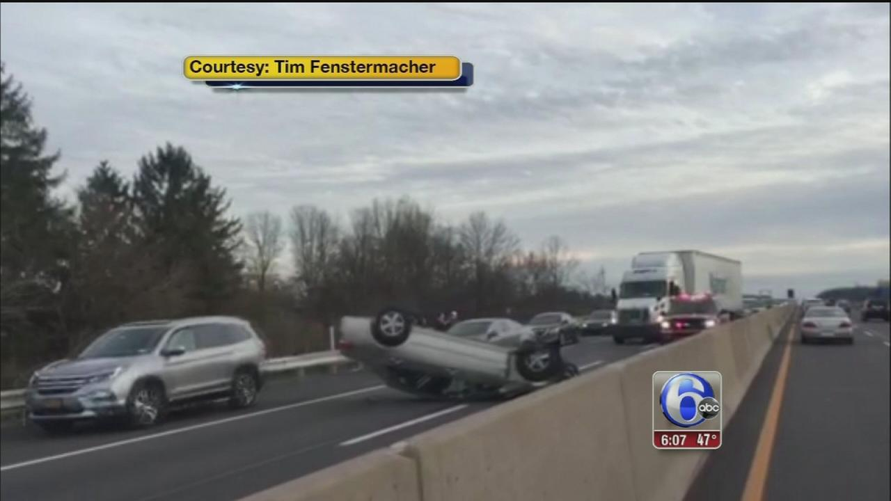 VIDEO: Overturned car on turnpike