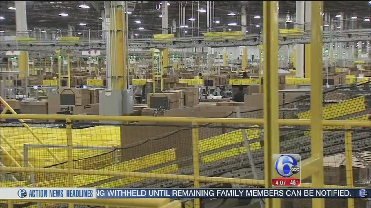 VIDEO: Amazon warehouse in N.J. buzzing on Cyber Monday