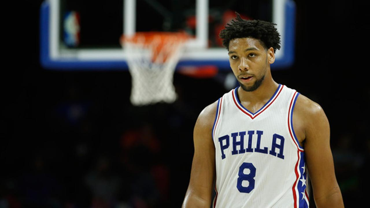 Philadelphia 76ers Jahlil Okafor in action during an NBA preseason basketball game against the Cleveland Cavaliers, Thursday, Oct. 8, 2015, in Philadelphia.