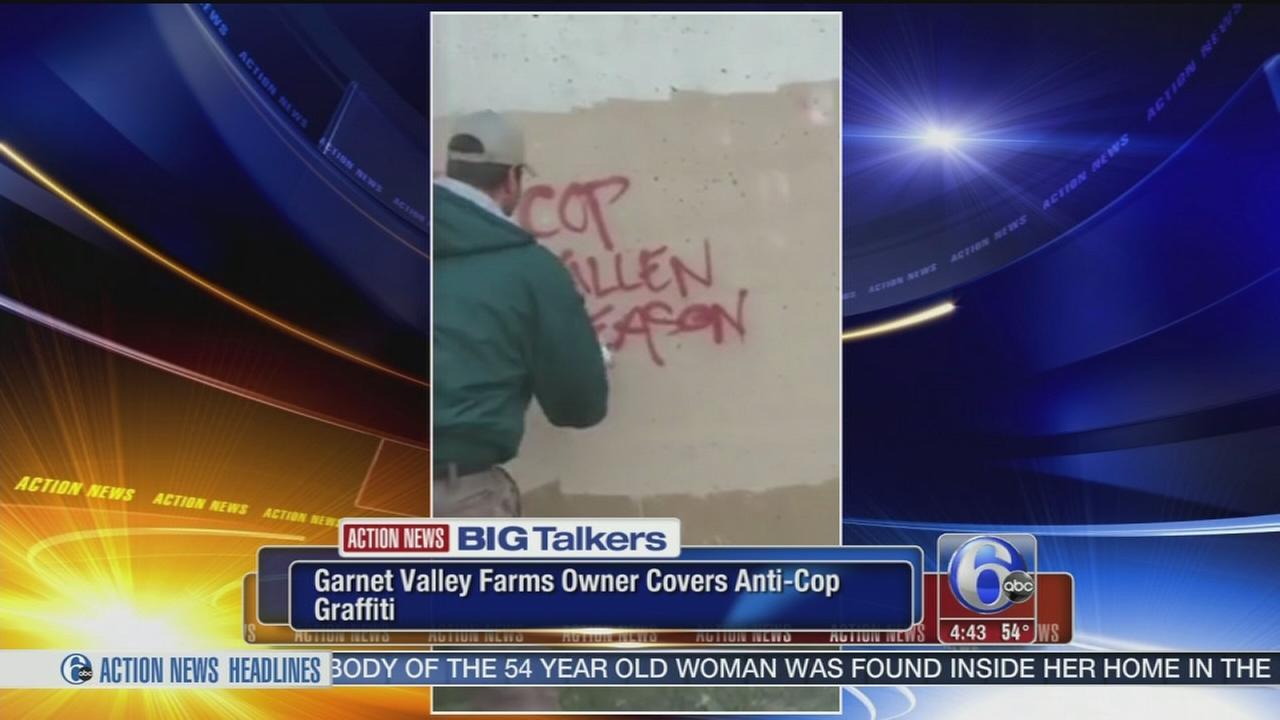 VIDEO: Delaware County landscaper paints over anti-police graffiti