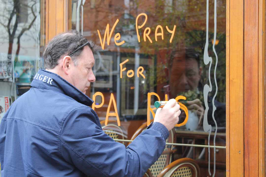<div class='meta'><div class='origin-logo' data-origin='WPVI'></div><span class='caption-text' data-credit=''>Caribou Cafe on Walnut Street in Center City shows its support for Paris on Saturday, Nov. 14, following attacks on the city.</span></div>