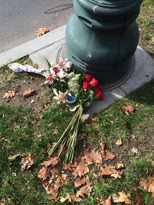 <div class='meta'><div class='origin-logo' data-origin='none'></div><span class='caption-text' data-credit=''>Flowers and a candle are placed at the base of the French flagpole on the Ben Franklin Parkway on Saturday, Nov. 14.</span></div>