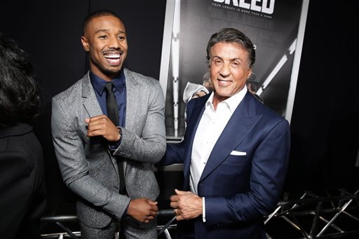 <div class='meta'><div class='origin-logo' data-origin='none'></div><span class='caption-text' data-credit='Eric Charbonneau/Invision/AP'>Michael B. Jordan and Producer Sylvester Stallone seen at Los Angeles World Premiere of New Line Cinema?s and Metro-Goldwyn-Mayer Pictures' 'Creed'</span></div>