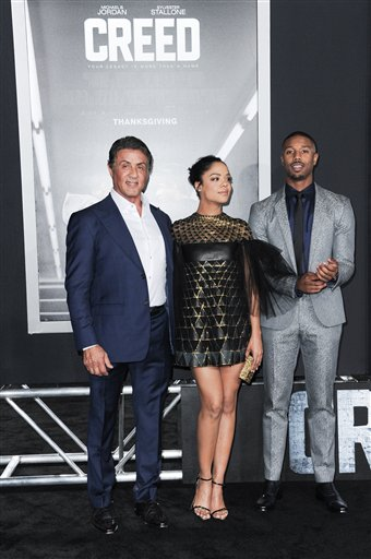 <div class='meta'><div class='origin-logo' data-origin='none'></div><span class='caption-text' data-credit='Richard Shotwell/Invision/AP'>Actors Sylvester Stallone, from left, Tessa Thompson and Michael B. Jordan attend the LA Premiere of &#34;Creed&#34;</span></div>