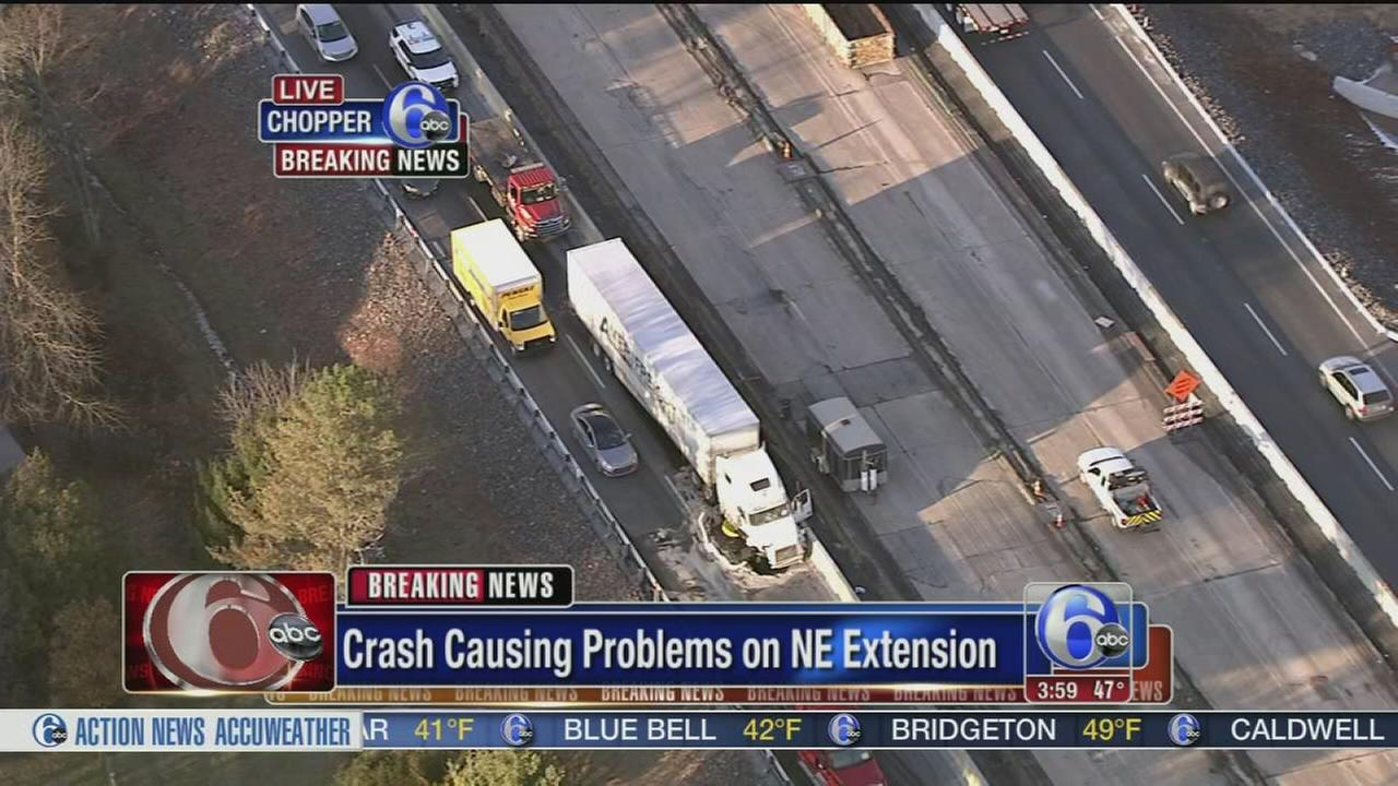VIDEO: Truck crash causes traffic delays