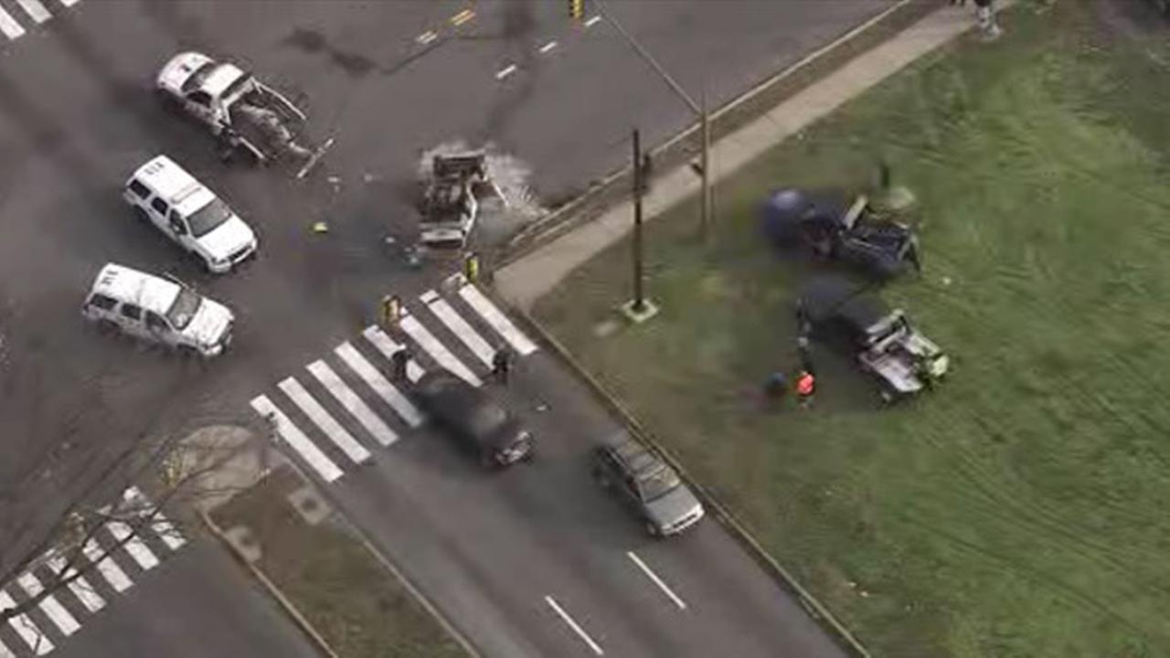 SUV overturns in crash on Roosevelt Boulevard in Northeast Philadelphia