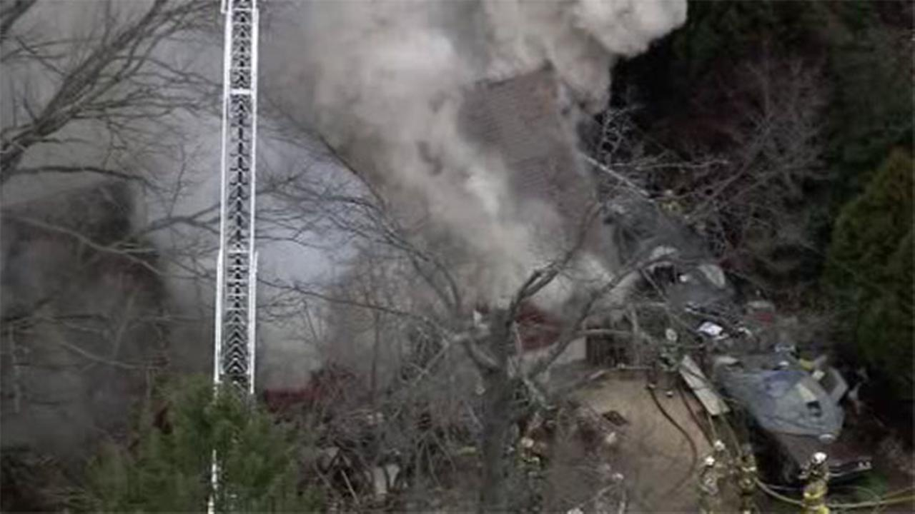 Fire crews are battling a blaze that has left a fireman injured in Montgomery County.