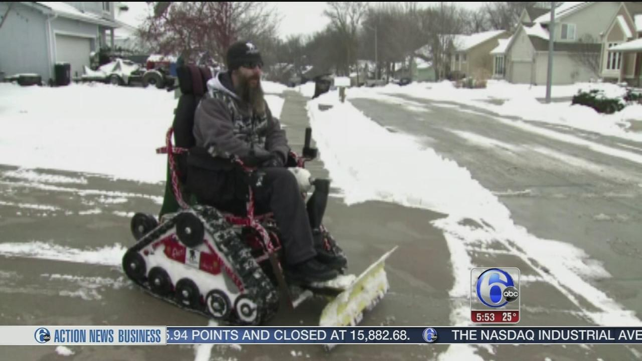 VIDEO: Iraq war veteran creates wheelchair snow plow