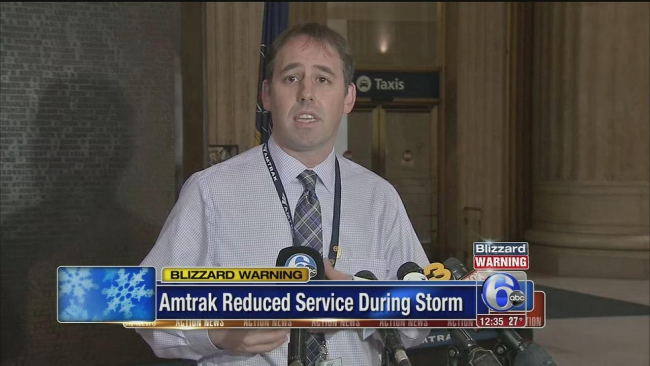 VIDEO: AMtrak announces service reduction during storm