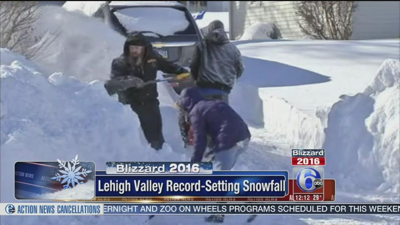 VIDEO: Lehigh Valley sees record snowfall