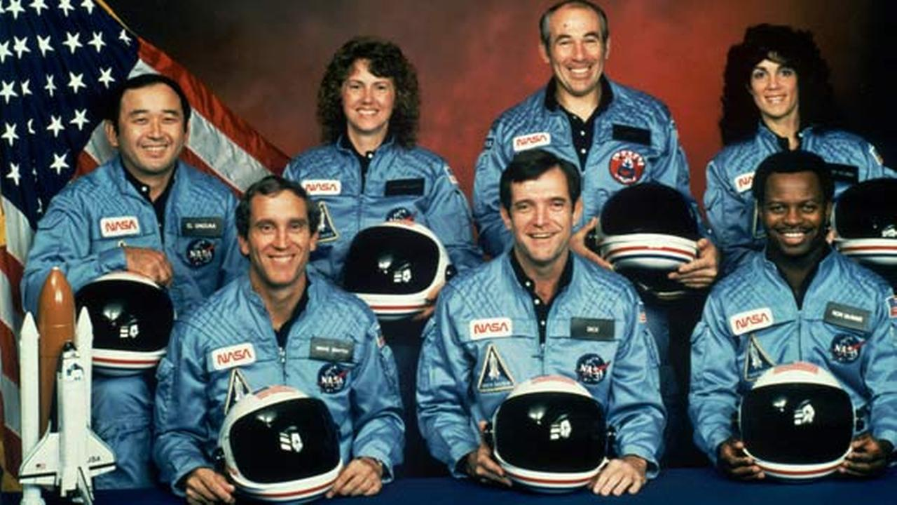 This is the official NASA photo of the crew of the Space Shuttle Challenger mission 51L.