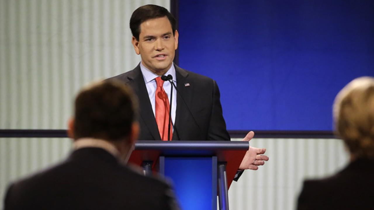 Marco Rubio speaks during a Republican presidential primary debate, Thursday, Jan. 28, 2016, in Des Moines, Iowa.