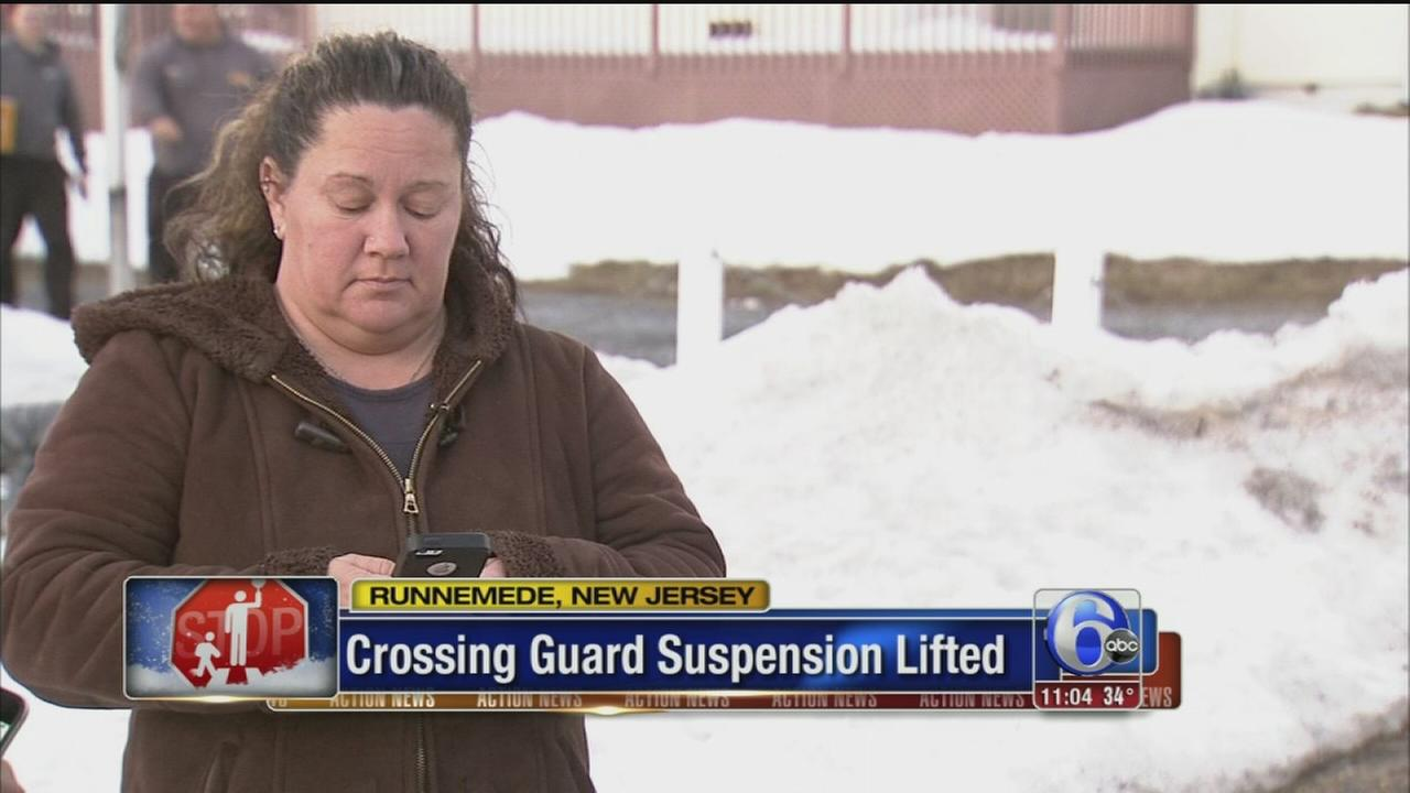 VIDEO: Crossing guard suspension lifted