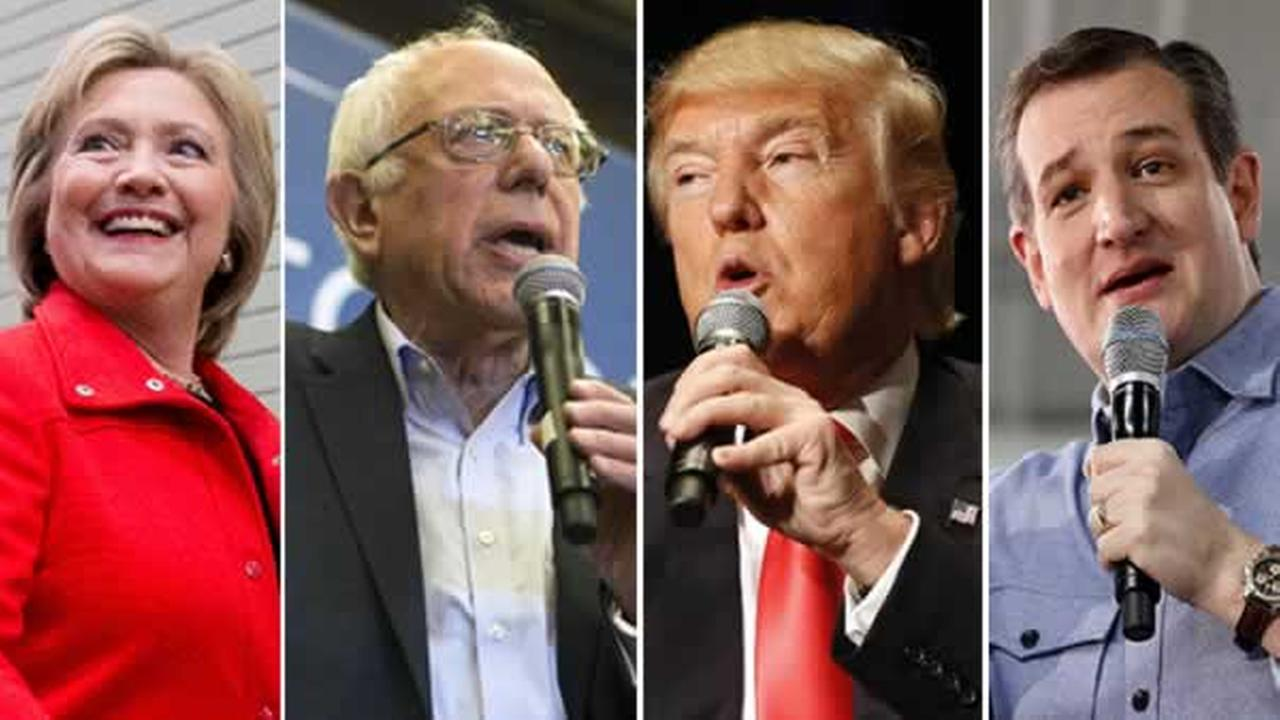 Presidential candidates Hillary Clinton, Bernie Sanders, Donald Trump and Ted Cruz are pictured.