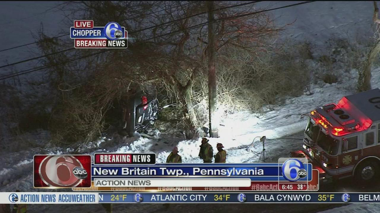 VIDEO: Car crashes on icy road in Bucks County