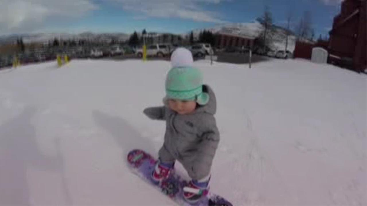 Baby snowboarder video goes viral