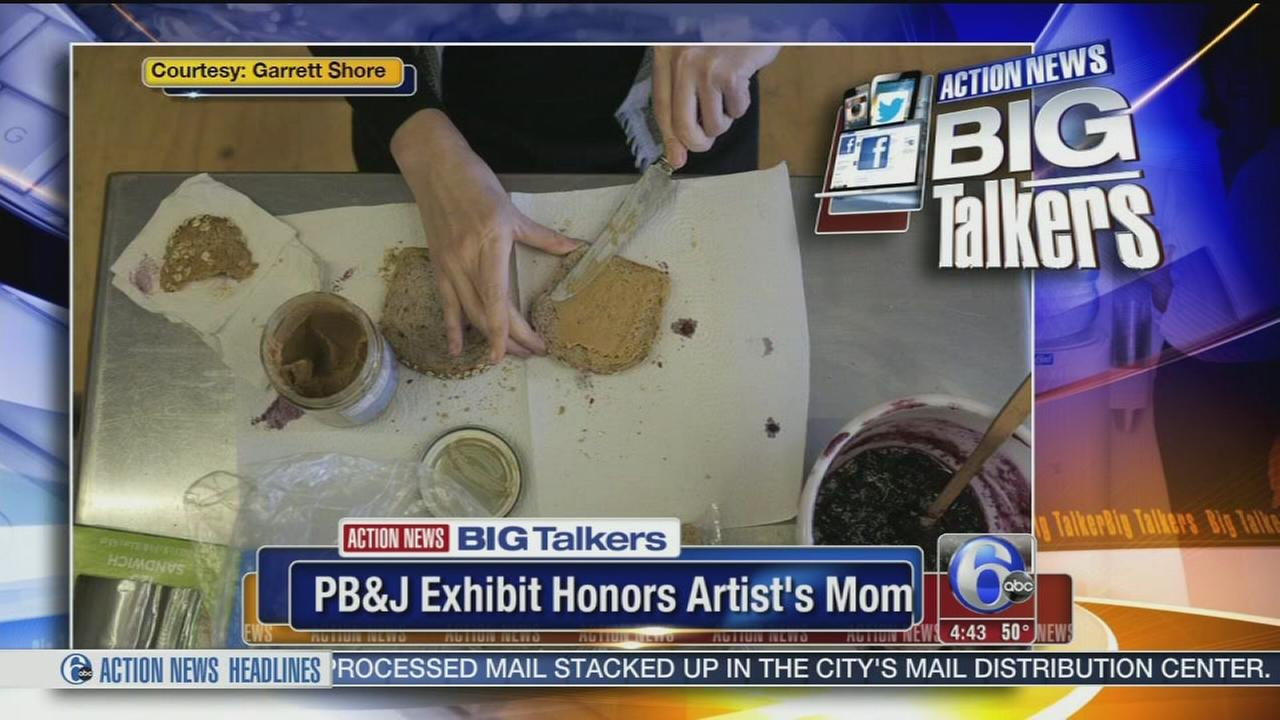 VIDEO: Peanut butter and jelly art exhibit honors artists mom