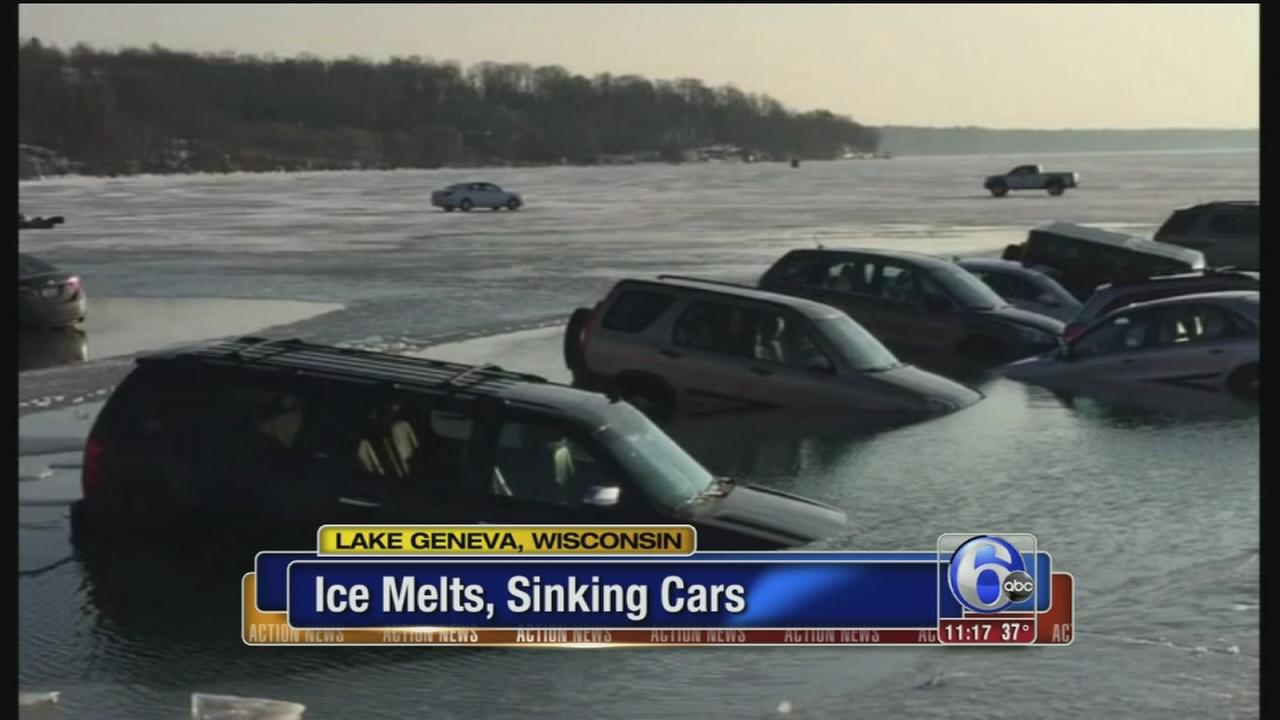 VIDEO: Ice melts, sinking cars